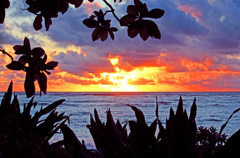 Landscape photography of a sunrise on Kauai.