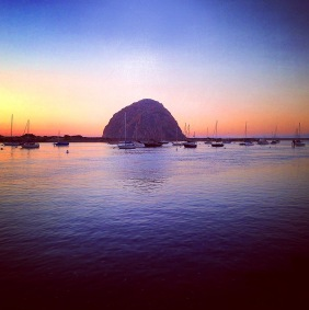 Seascape photography of a sunset on Morro Rock.