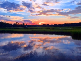 Landscape photography of a South Carolina sunset reflection.