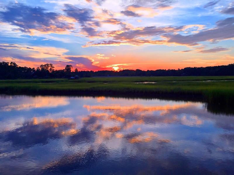Landscape photography of a South Carolina sunset reflection.