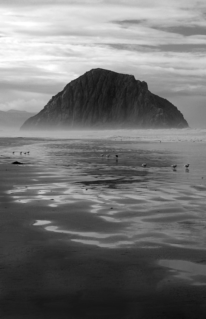 Black and white beachscape photography of Morro Rock, California.