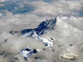 Mountains and clouds from an airplane.