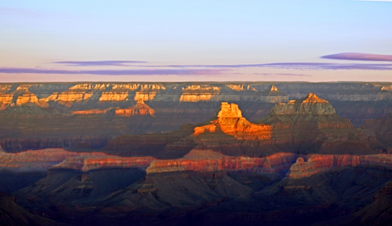 Landscape photography of the south rim of the Grand Canyon at dawn.