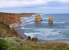 Seascape photography of two of the Apostles off the coast of Australia.