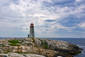 Landscape photography of Peggy's Point Lighthouse, Nova Scotia.