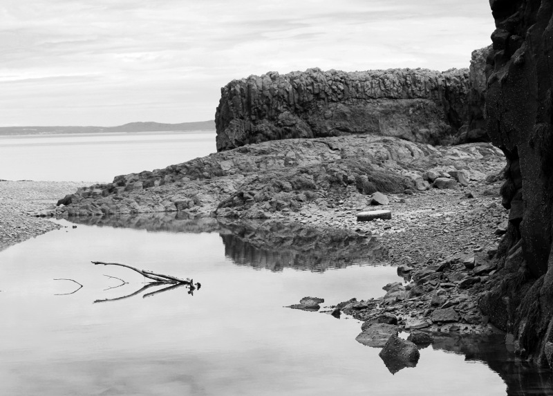 Black and white seascape photography of Bay of Fundy, Nova Scotia, Canada.