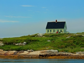Landscape photography of a house in Peggy's Cove, Nova Scotia, Canada.