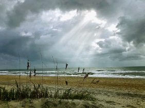 Skyscape photography of sun rays at Myrtle Beach, South Carolina.