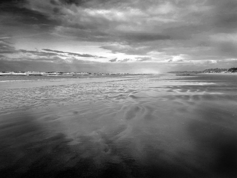 Black and white seascape photography of the beach, sea, and sky.